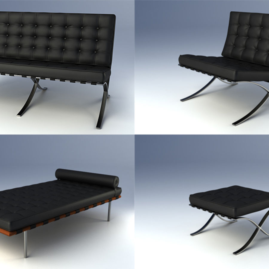 Collection de meubles de Barcelone royalty-free 3d model - Preview no. 1