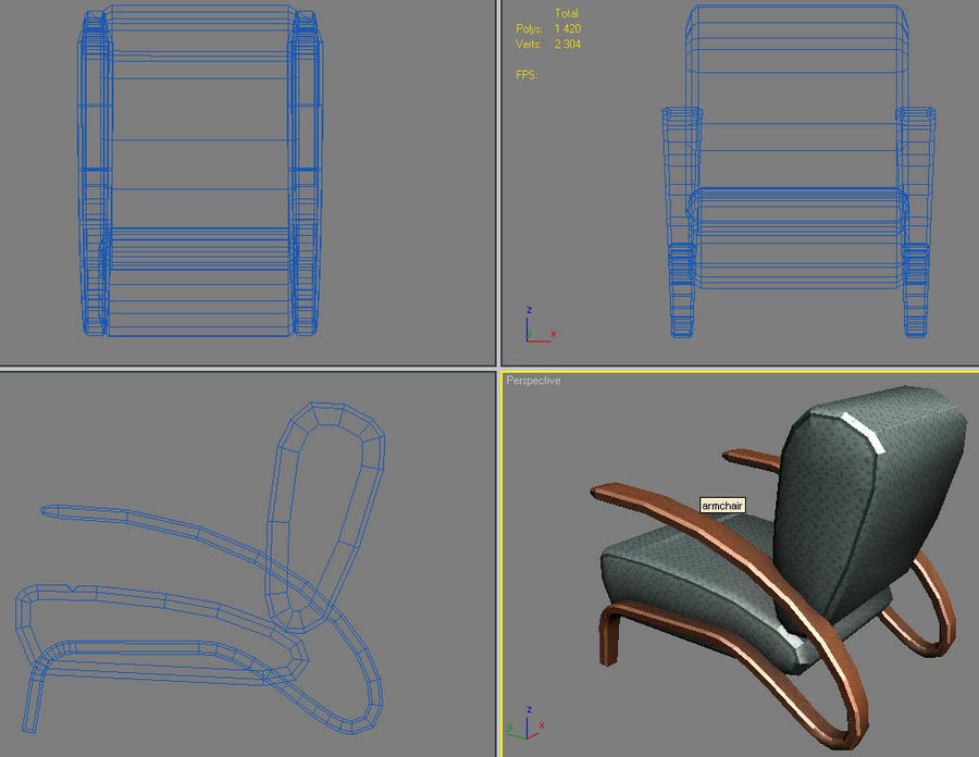 armchair.zip royalty-free 3d model - Preview no. 3