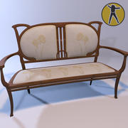Sofá Art Nouveau 3d model