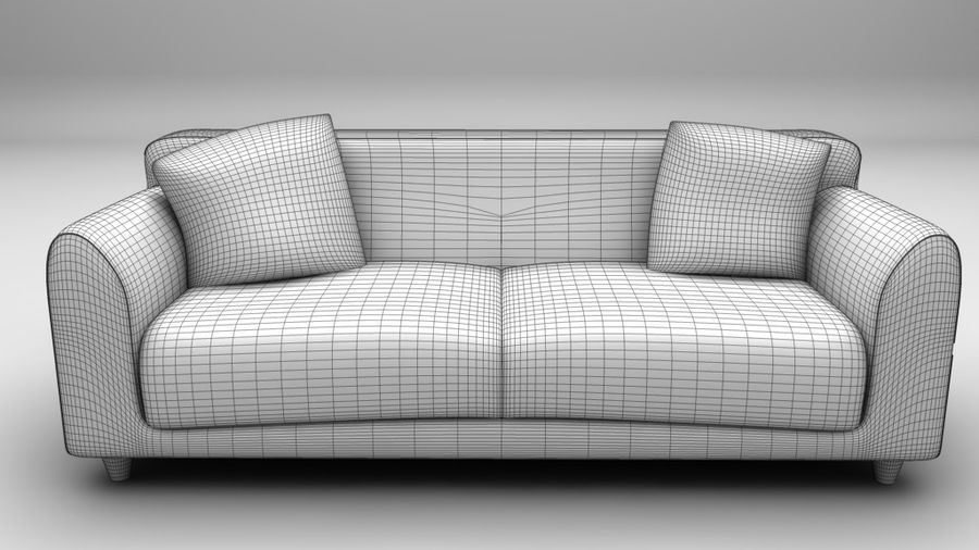 Leather Sofa royalty-free 3d model - Preview no. 2