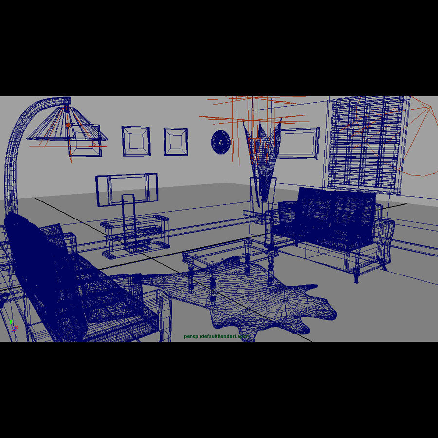 Modern living room royalty-free 3d model - Preview no. 16