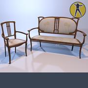Диван-кресло в стиле модерн 3d model
