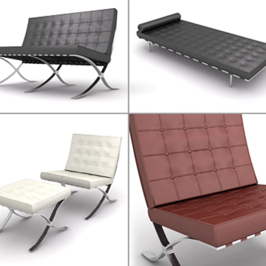 Barcelona Chair, Ottoman U0026 Day Bed. Royalty Free 3d Model   Preview No
