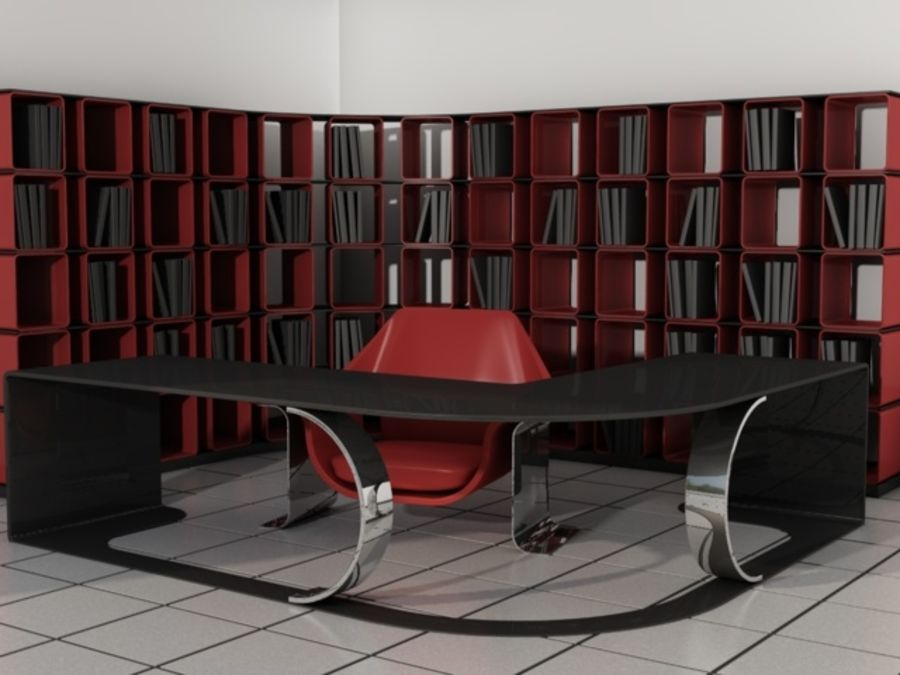 Office set 1 royalty-free 3d model - Preview no. 1