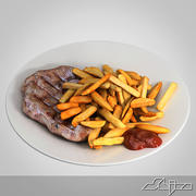 Roast Beef French fries with ketchup 3d model