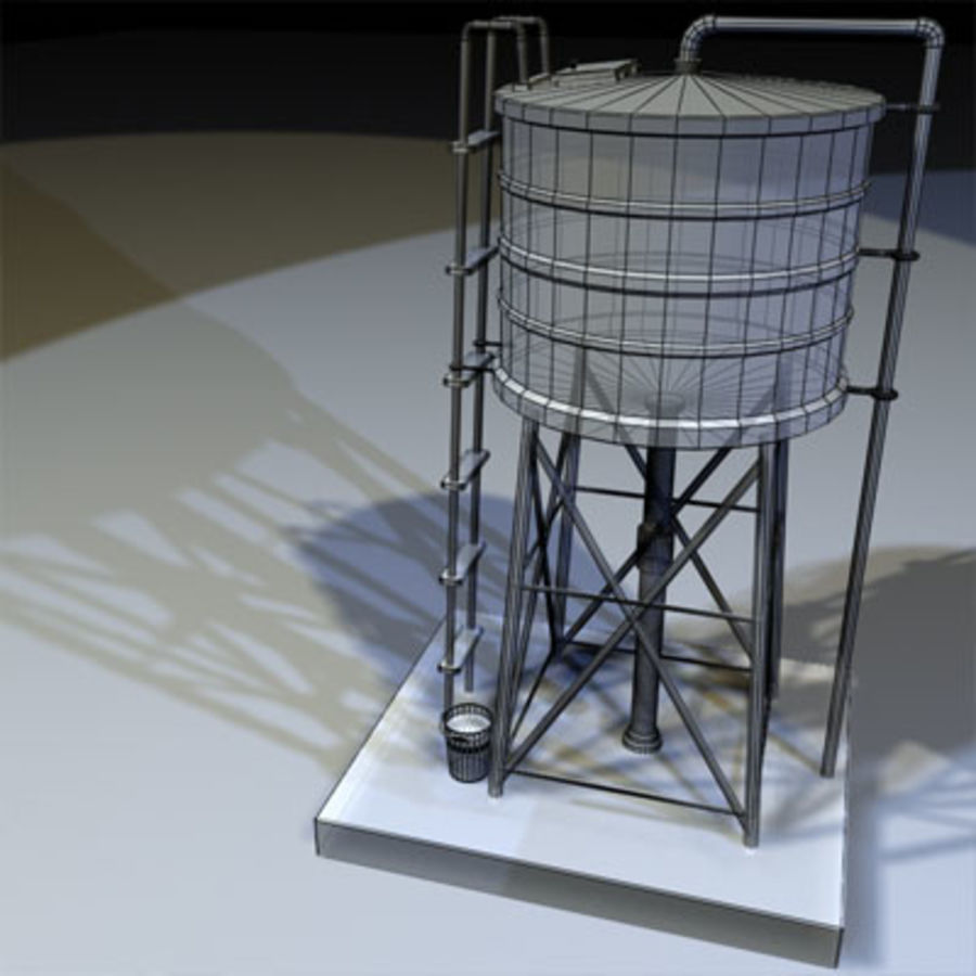 Roof Top Water Tank 03 royalty-free 3d model - Preview no. 2