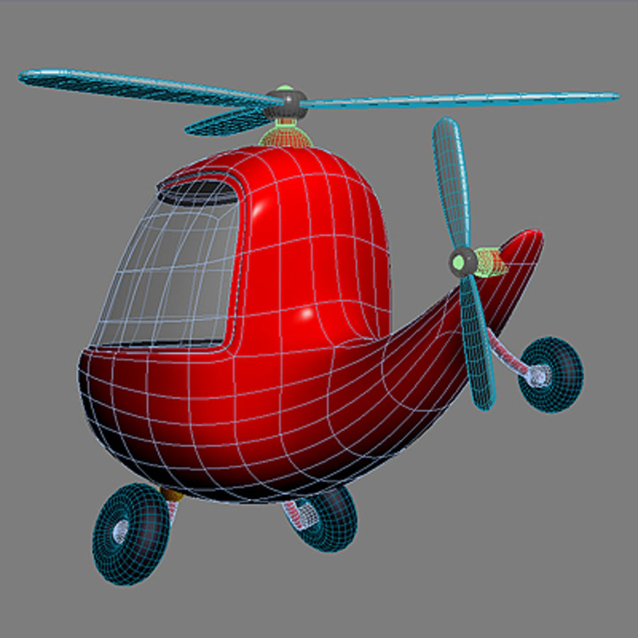 helicopter cartoon royalty-free 3d model - Preview no. 5