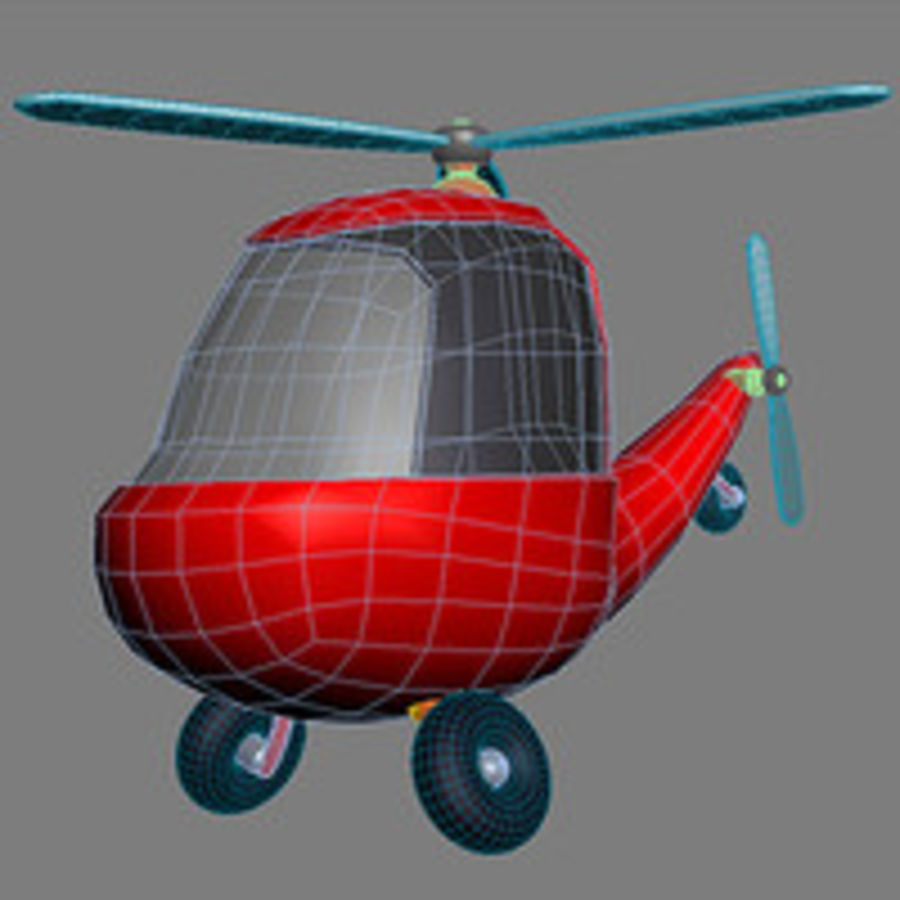 helicopter cartoon royalty-free 3d model - Preview no. 3