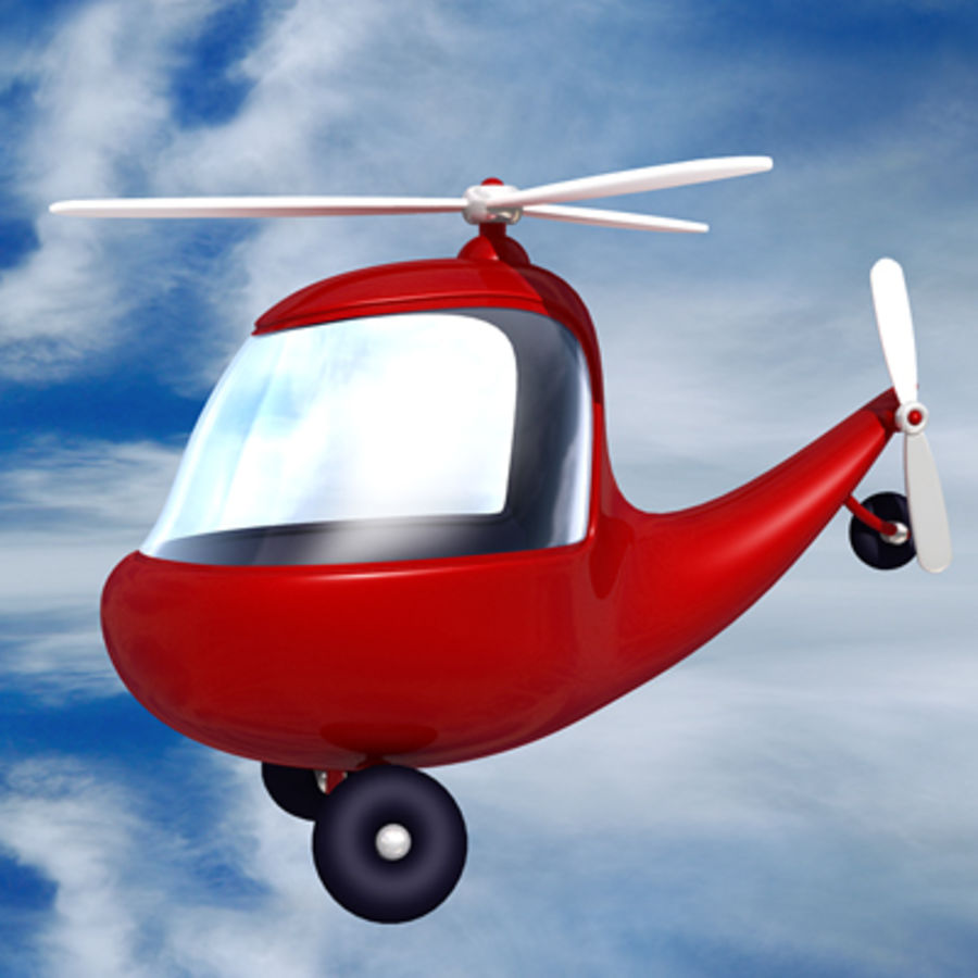 helicopter cartoon royalty-free 3d model - Preview no. 4