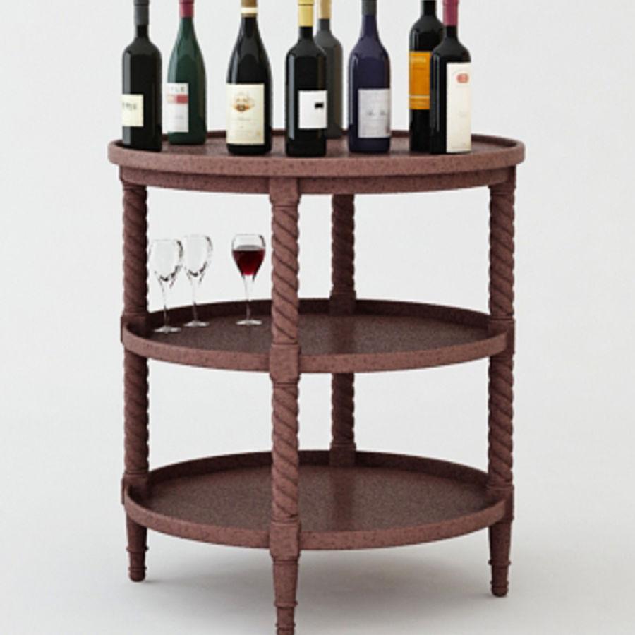 Bouteilles de vin et table royalty-free 3d model - Preview no. 3