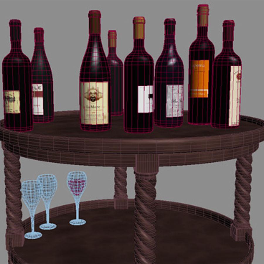 Bouteilles de vin et table royalty-free 3d model - Preview no. 7