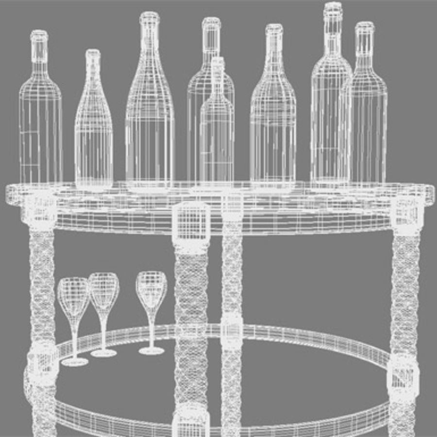 Bouteilles de vin et table royalty-free 3d model - Preview no. 6