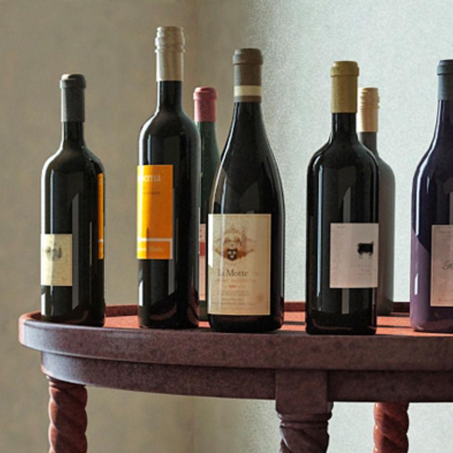 Bouteilles de vin et table royalty-free 3d model - Preview no. 1