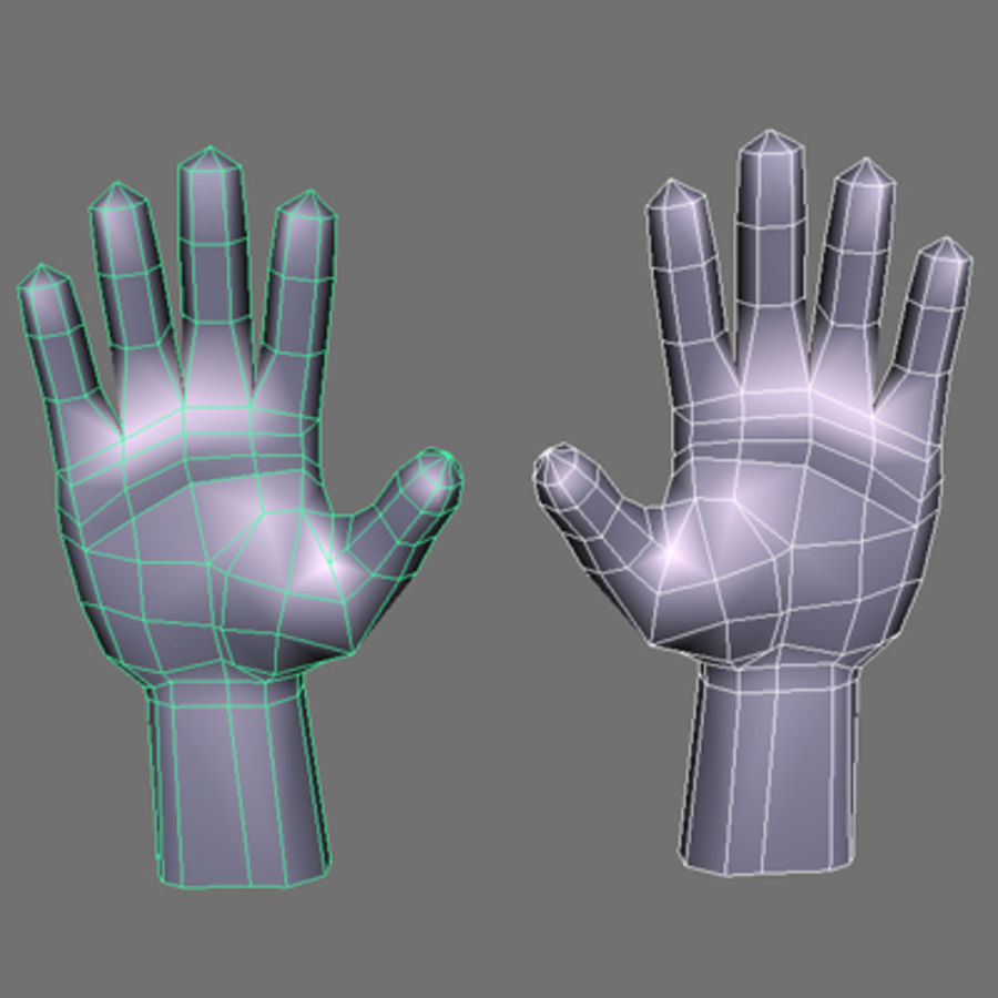 low poly hands basemesh royalty-free 3d model - Preview no. 1