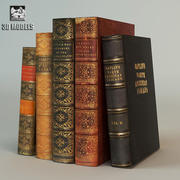 Old Classic Books 3d model