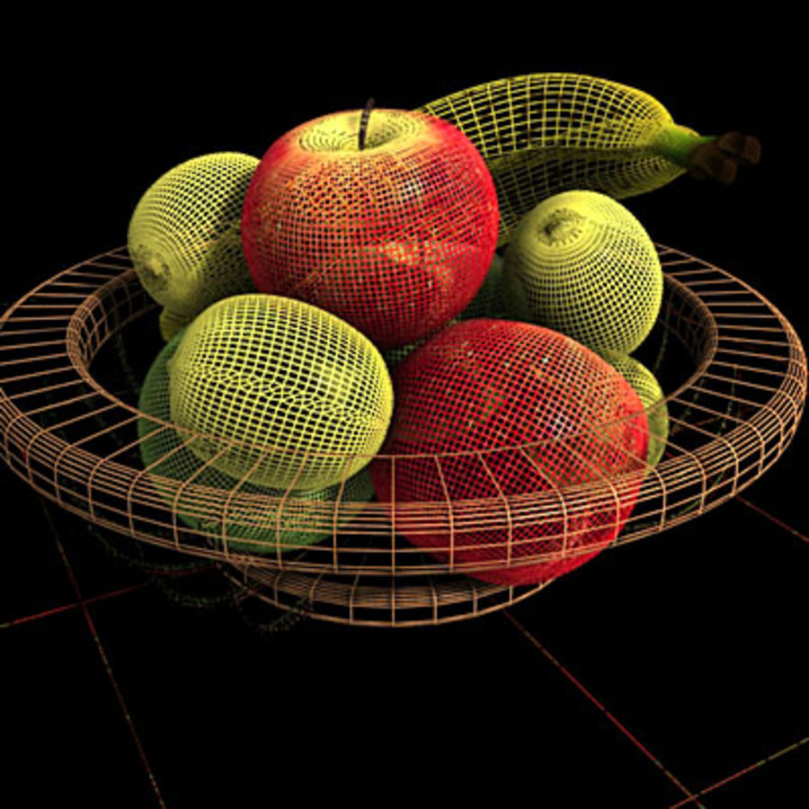 001 Fruit Basket royalty-free 3d model - Preview no. 6