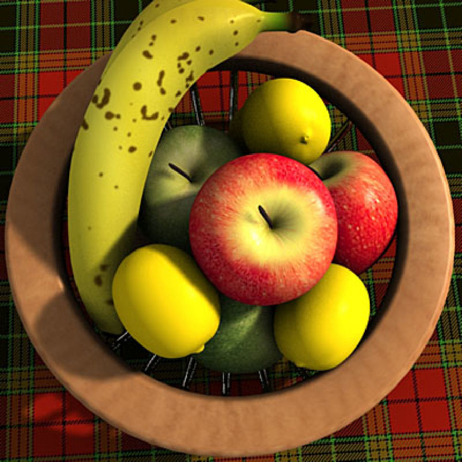 001 Fruit Basket royalty-free 3d model - Preview no. 3