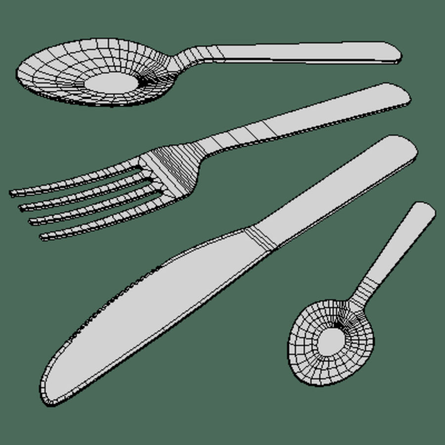 Cutlery Set royalty-free 3d model - Preview no. 2