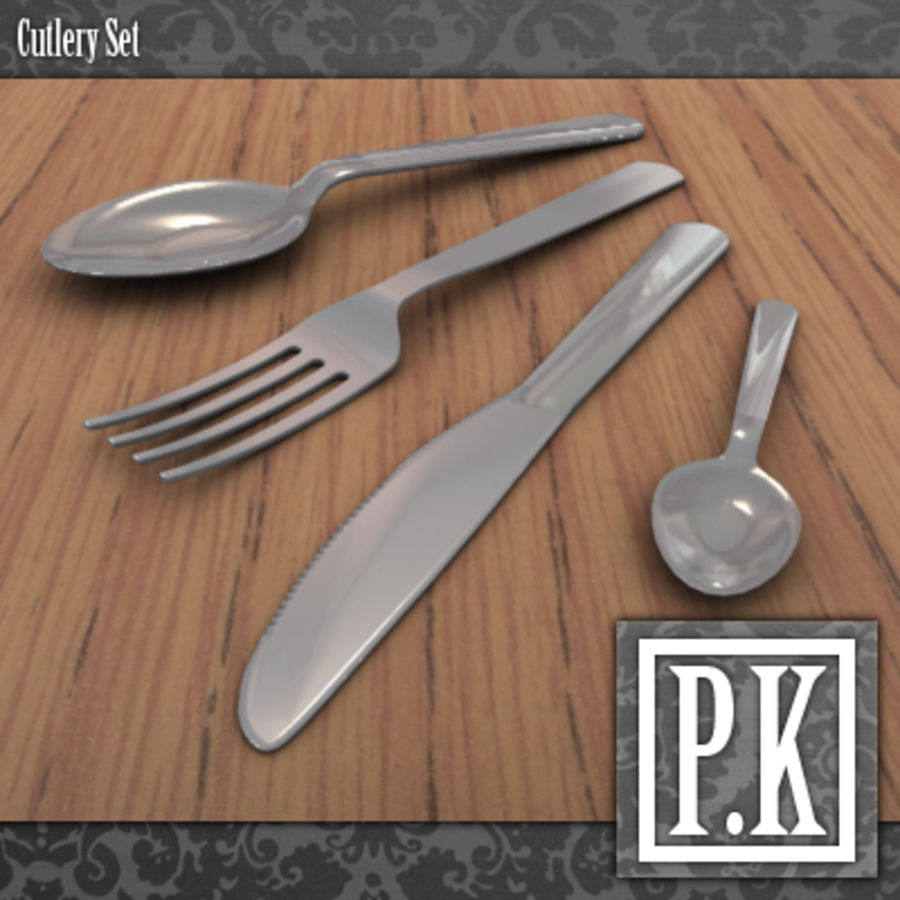 Cutlery Set royalty-free 3d model - Preview no. 1