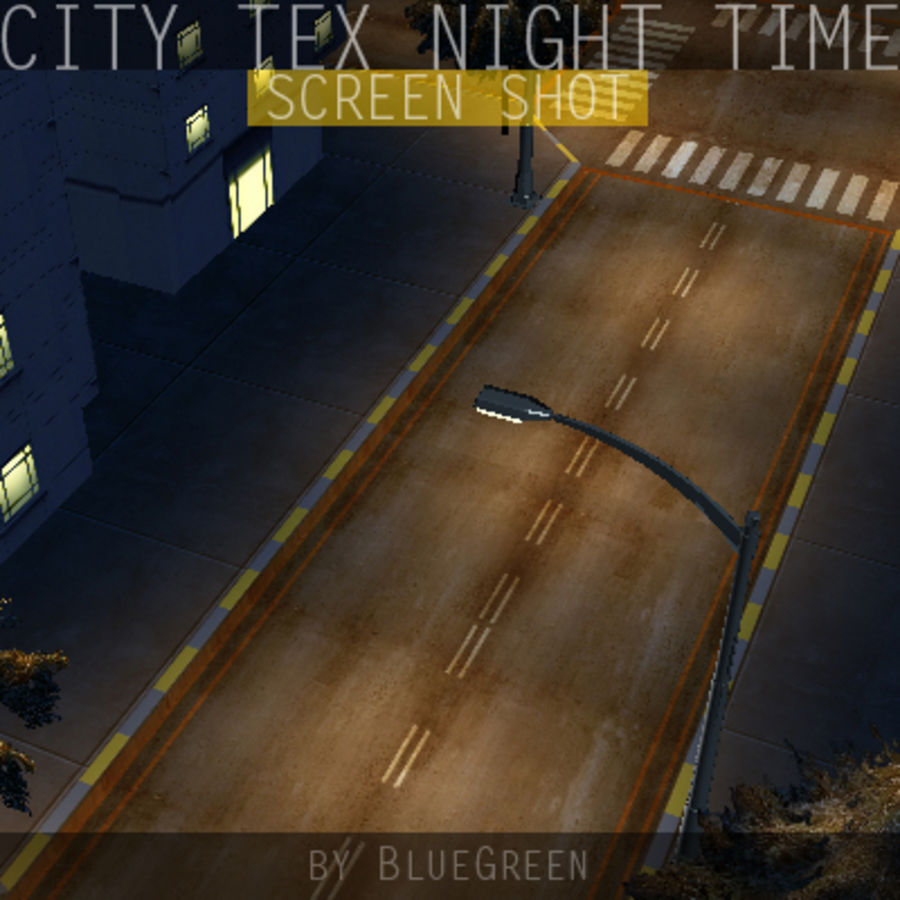 Ciudad Tex Night Time royalty-free modelo 3d - Preview no. 15