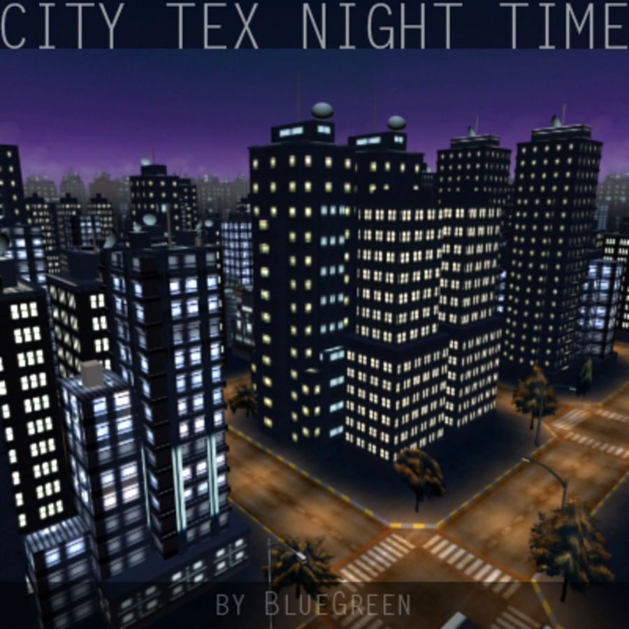 Ciudad Tex Night Time royalty-free modelo 3d - Preview no. 9