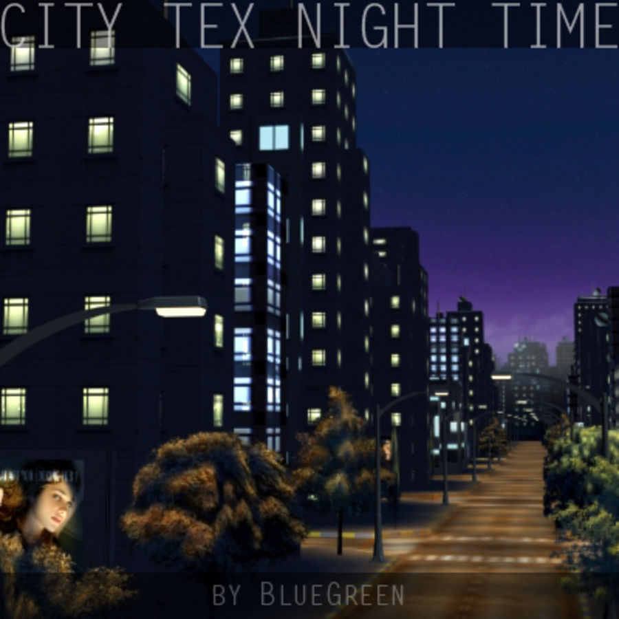 Ciudad Tex Night Time royalty-free modelo 3d - Preview no. 3