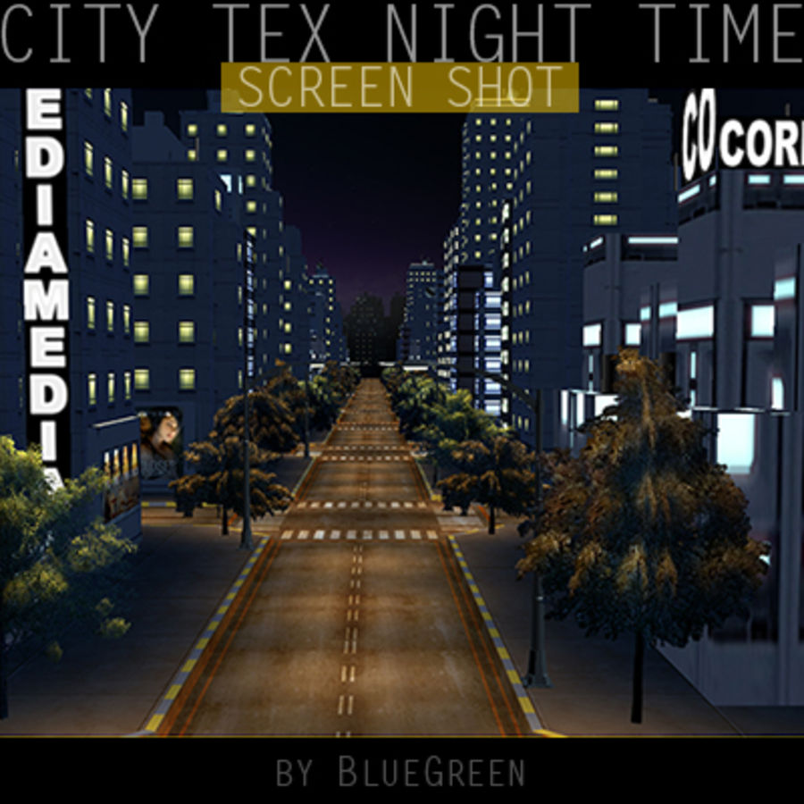Ciudad Tex Night Time royalty-free modelo 3d - Preview no. 12