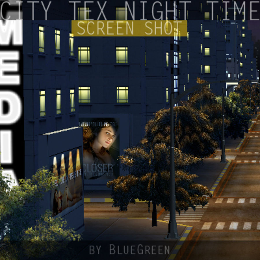 Ciudad Tex Night Time royalty-free modelo 3d - Preview no. 13