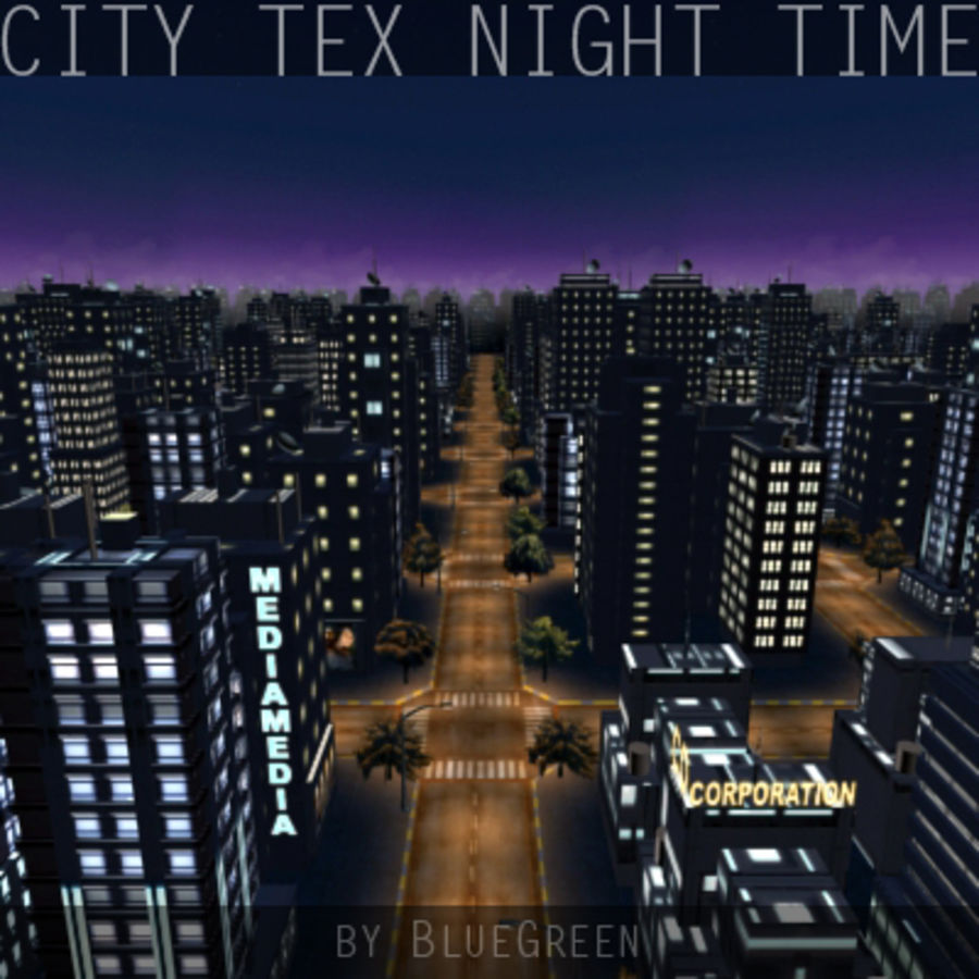 City Tex Night Time royalty-free 3d model - Preview no. 1