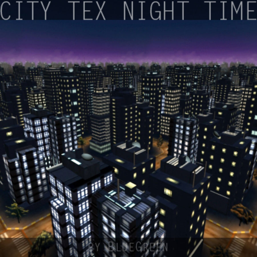 Ciudad Tex Night Time royalty-free modelo 3d - Preview no. 5