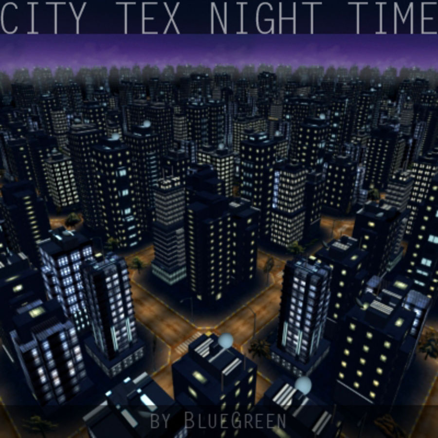 Ciudad Tex Night Time royalty-free modelo 3d - Preview no. 6