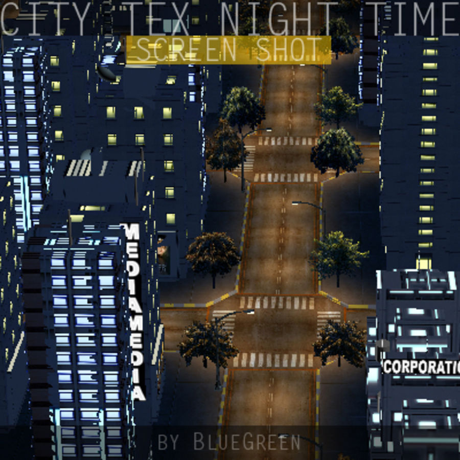 Ciudad Tex Night Time royalty-free modelo 3d - Preview no. 11