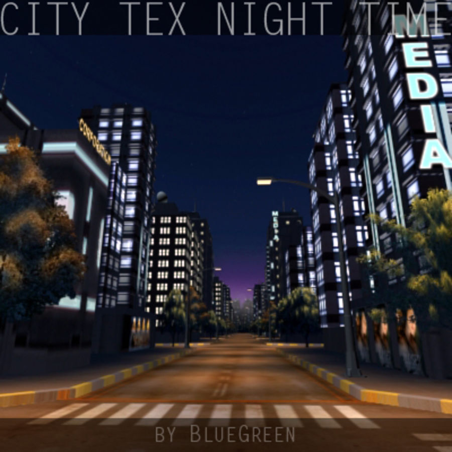 Ciudad Tex Night Time royalty-free modelo 3d - Preview no. 4