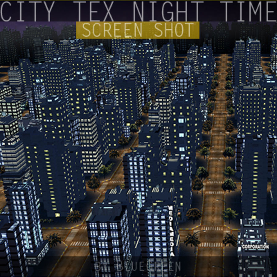 Ciudad Tex Night Time royalty-free modelo 3d - Preview no. 10