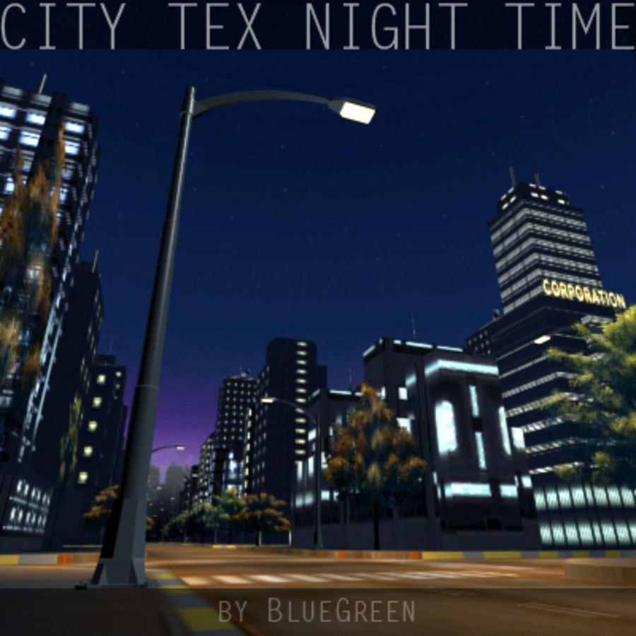 Ciudad Tex Night Time royalty-free modelo 3d - Preview no. 7