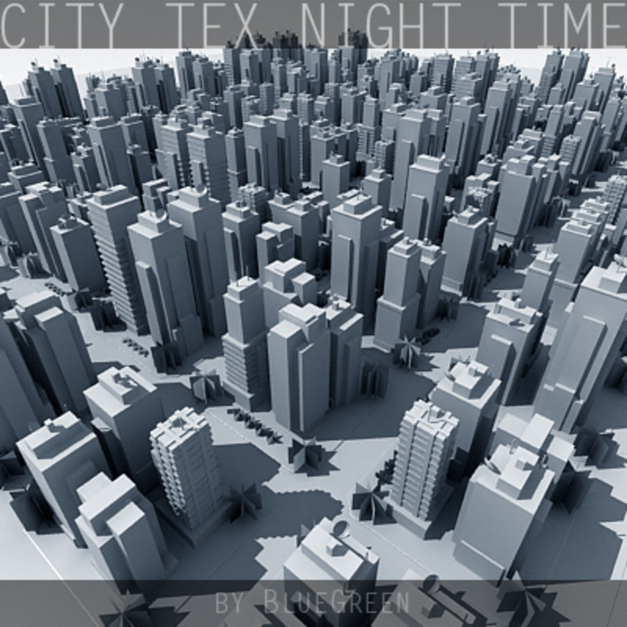 Ciudad Tex Night Time royalty-free modelo 3d - Preview no. 17