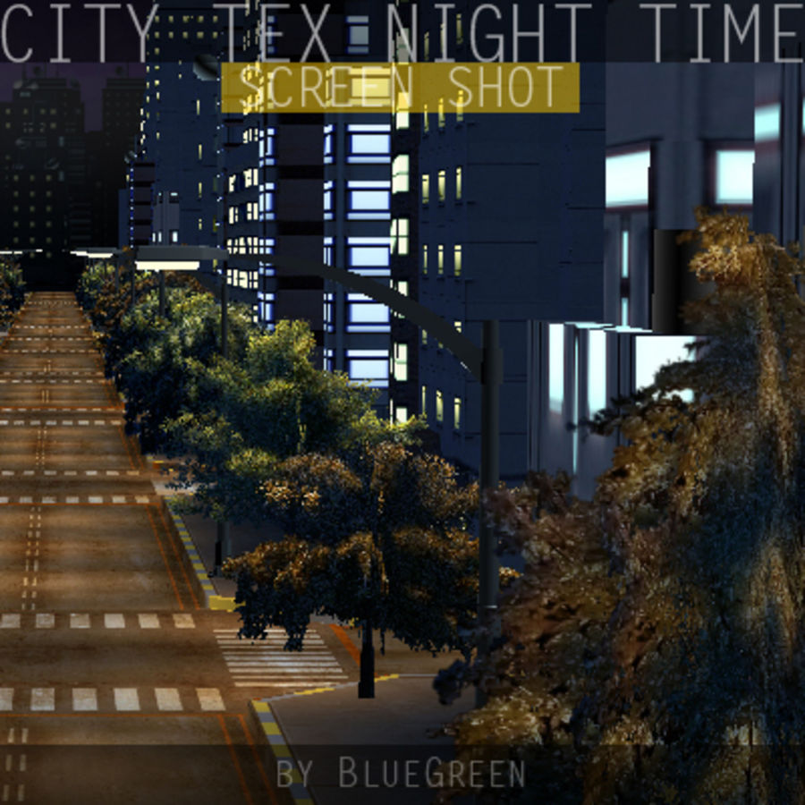 Ciudad Tex Night Time royalty-free modelo 3d - Preview no. 14