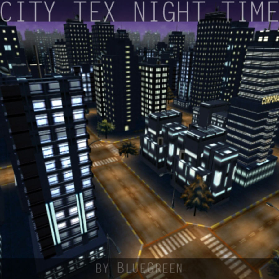 Ciudad Tex Night Time royalty-free modelo 3d - Preview no. 8