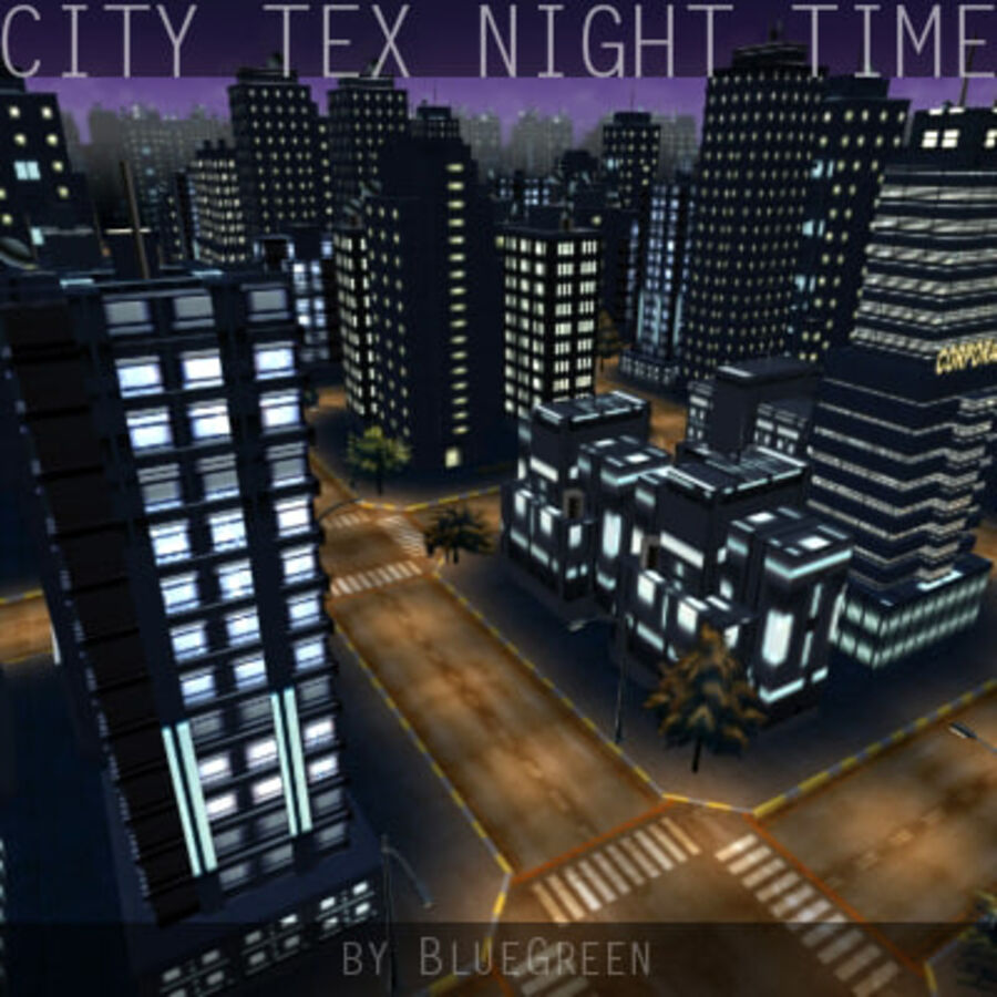 City Tex Night Time royalty-free 3d model - Preview no. 8
