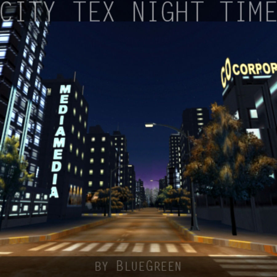Ciudad Tex Night Time royalty-free modelo 3d - Preview no. 2