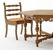 Античный стол и стул 3d model