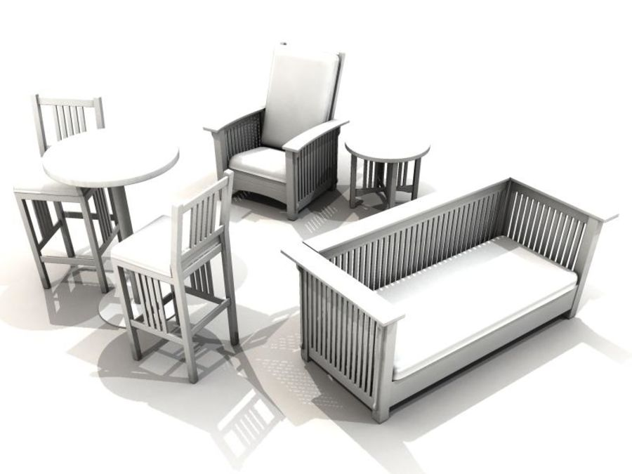 MISSION STYLE FURNITURE royalty-free 3d model - Preview no. 2