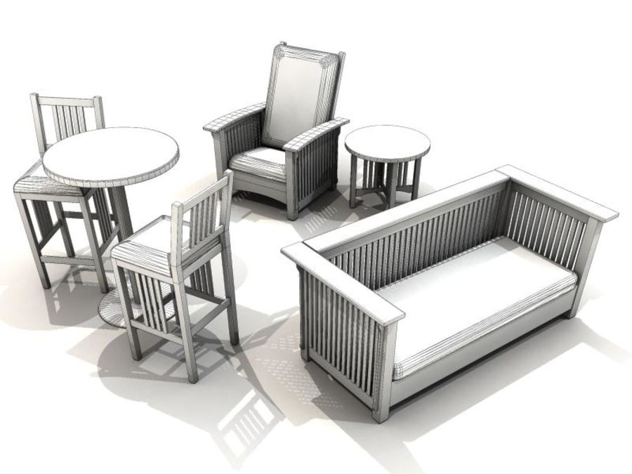 MISSION STYLE FURNITURE royalty-free 3d model - Preview no. 3