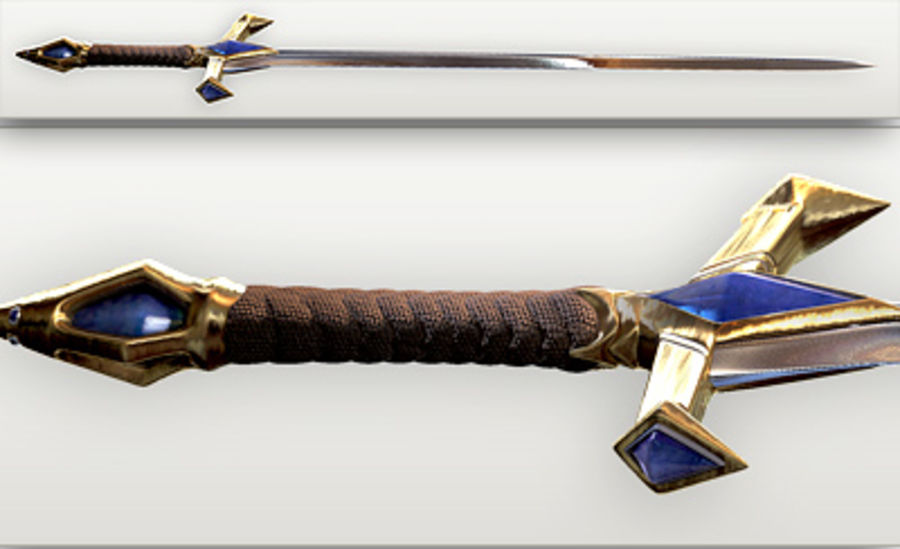 Fantasy knight sword royalty-free 3d model - Preview no. 6