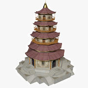 Pagode - Basse Poly 3d model