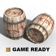 Low Poly - Wooden barrel, explosive 3d model