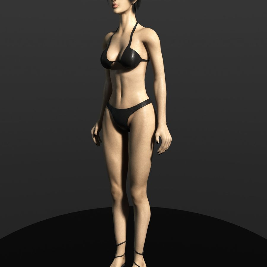Fully rigged female (SSS skin, Clothes) royalty-free 3d model - Preview no. 17