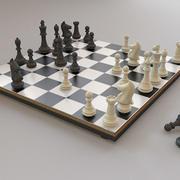Chess Set + Board 3d model