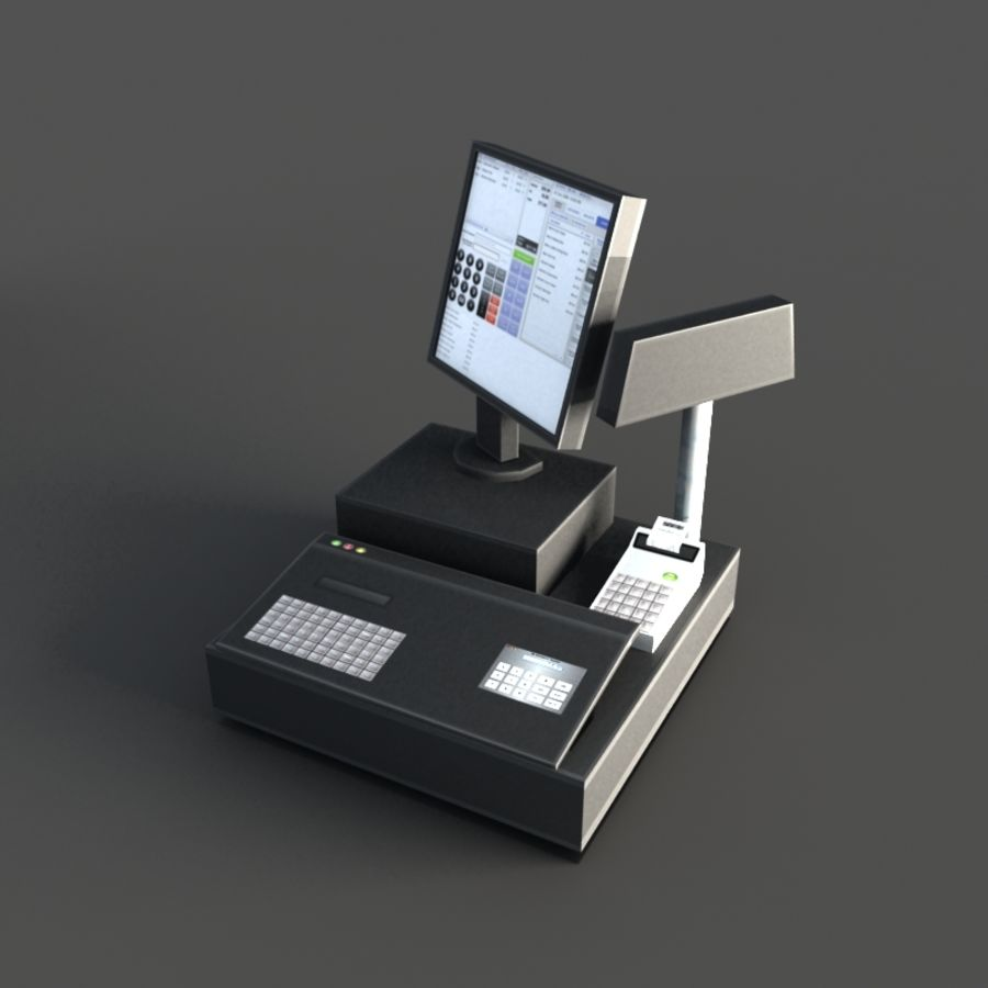 Cash Register royalty-free 3d model - Preview no. 2