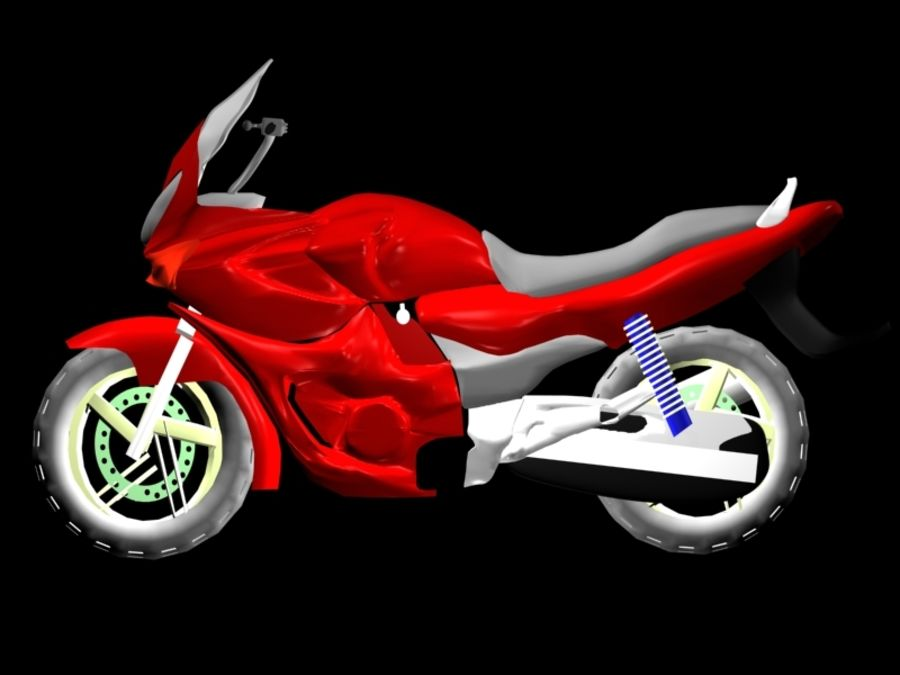 Sports Bike red royalty-free 3d model - Preview no. 3